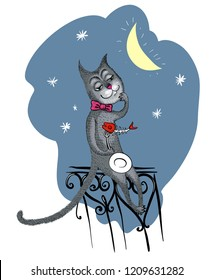 Freehand vector drawn funny cartoon black cat-tramp sitting on a fence with the skeleton of a fish on his fork, isolated on a gray night sky background with moon and stars.