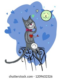 Freehand vector drawn funny cartoon black cat-tramp sitting on a fence with the skeleton of a fish on his fork, isolated on a gray night sky background.