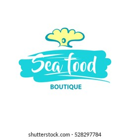 Freehand vector logo for sea food market, shop, boutique. Element of corporate identity, banner, poster, logotype on white background. Image of hand drawn pearl with gem with text sea food.