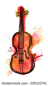 A freehand vector and watercolour drawing of a violin on white background