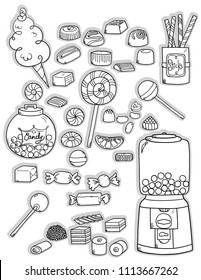 Freehand vintage wrap candies illustration, Black and white outline chocolate caramel and lollipop, Cotton candy, licorice jar and gum drop dispenser machine, Sweet confection food and holiday mints