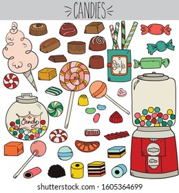 Freehand vintage wrap candies illustration, Colored chocolate caramel and lollipop drawing, Cotton candy, licorice jar and gum drop dispenser machine sketch, Sweet confection food and holiday mints