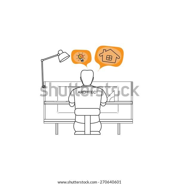 Freelance Architect Design Drawing Icon Stock Vector