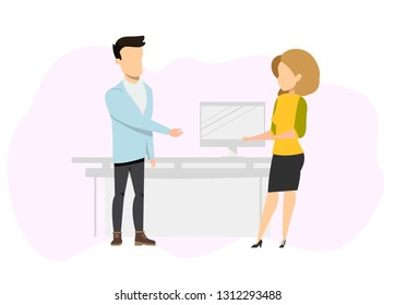 Freelance Business Couple Having Conversation. Confident, Successfull Male and Female Freelancer Character Wearing Informal Clothes Standing at Workplace. Flat Cartoon Vector Illustration