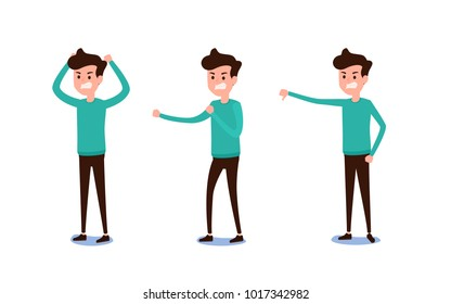 Freelance character Design. Set of guy in casual clothes in various poses angry emotions. Different emotions and poses. Cartoon Vector Illustration.