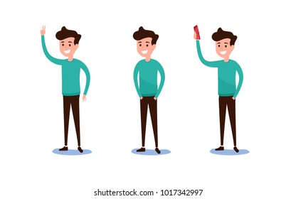Freelance character Design. Set of guy in casual clothes in various poses happy emotional. Different emotions and poses. Cartoon Vector Illustration.
