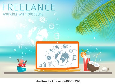 Freelance concept. Laptop on the beach. Feel of relax. Work with pleasure.