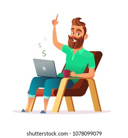 Freelance concept vector illustration in cartoon style. Home office workplace. Hipster bearded freelancer working remotely from his laptop