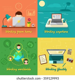 Freelance design concept set with working from home flat icons isolated vector illustration
