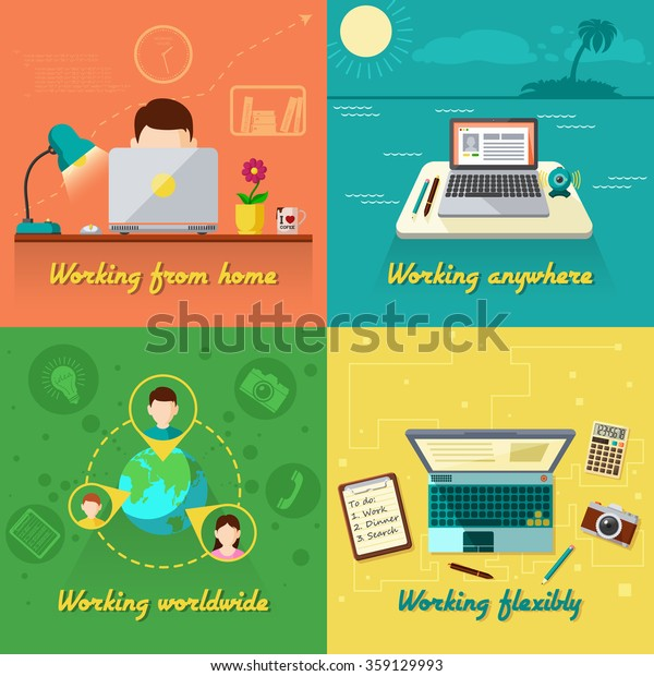 Freelance Design Concept Set Working Home Stock Vector Royalty Free 359129993