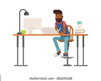 Freelance designer, CG artist character in flat style, sitting and drawing, working. Detailed workspace with desktop, digital tablet, computer, plant and lamp.