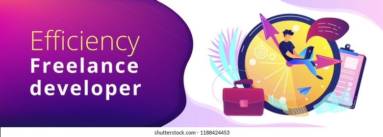 A freelance developer sitting on the clock hands with a laptop. Time management, productivity, efficiency, work rate, perfomance concept, violet palette. Header or footer banner template.