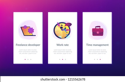 A freelance developer sitting on the clock hands with a laptop. Time management, productivity, efficiency, work rate, perfomance concept, violet palette. Mobile UI UX app interface template.