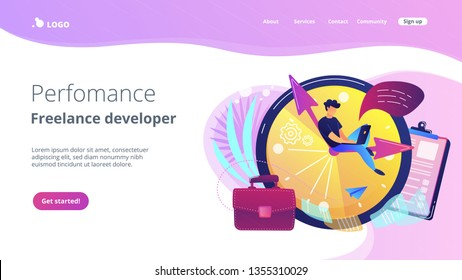 A freelance developer sitting on the clock hands with a laptop. Time management, productivity, efficiency, work rate, perfomance concept, violet palette. Website landing web page template.