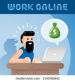 Freelance Employee is Getting Paid Online. Internet Casino Gambling Game Winner Gets Bag of Money with Dollar Sign Flat Vector Art Design Illustration