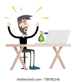 Freelance Employee is Getting Paid Online. Internet Casino Gambling Game Winner Gets Bag of Money with Dollar Sign Vector Art Design Illustration.
