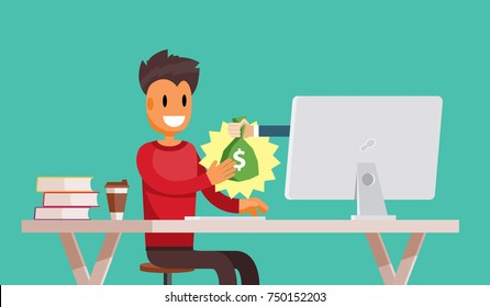 Freelance Employee is Getting Paid Online. Internet Casino Gambling Game Winner Gets Bag of Money with Dollar Sign Vector Art Design Illustration
