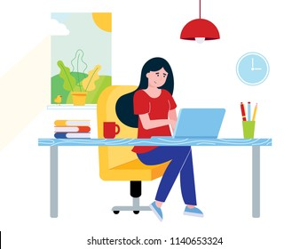 Freelance female girl businesswoman relaxing working on laptop at the home office. Woman, notebook, desk, books, pen, pencil, lamp, cup of coffee, window, clock flat style vector illustration isolated