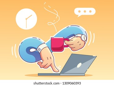 Freelance illustration. Laptop and coffee cup in hands
