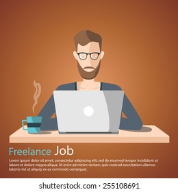 freelance job vector illustration. man working on internet using laptop and drinking coffee. work at home. travel and work