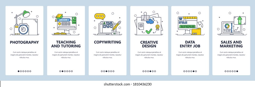 Freelance jobs. Photography, teaching, copywriting, creative design, sales and marketing. Mobile app screens. Vector banner template for website and mobile development. Web site design illustration.