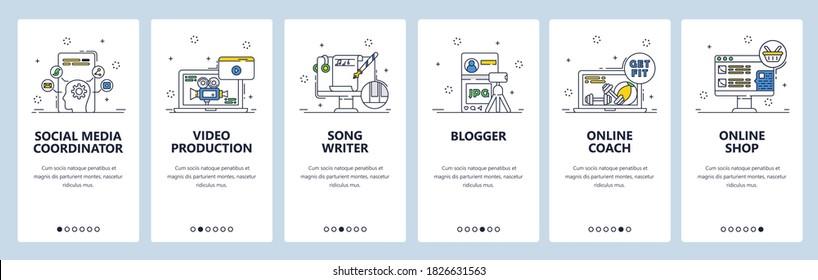Freelance jobs. Remote work from home. Social media coordinator, videographer, song writer. Mobile app screens. Vector banner template for website and mobile development. Web site design illustration.