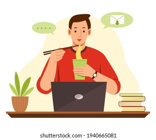 Freelance Man is Online Working from Home with Laptop and Eating Noodle.