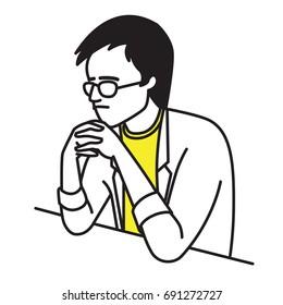 Homme indépendant assis sur la table, les mains serrées sur son menton avec une expression sérieuse, inquiète et stressée. Plan, contour, dessin de trait à la main, style simple.