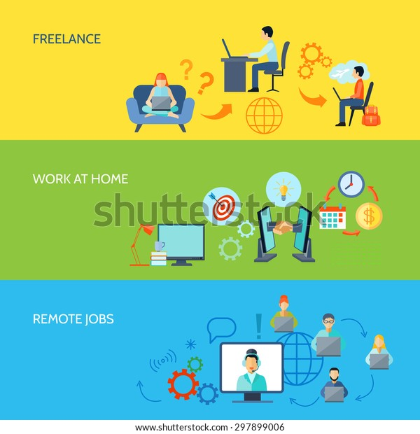 Freelance Online Work Home Remote Jobs Stock Vector Royalty Free 297899006