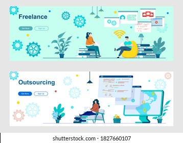Freelance and outsourcing landing page with people characters. Remote workforce, freelancers recruiting web banners. Outsourcing software development vector illustration great for social media cover.
