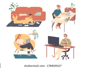 Freelance people work at home. Freelancer character working from home office workplace. Self employed or business