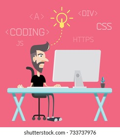 Freelance Programmer Coder Character Dude Work from Home Character and Application on Table Top Computer Vector Art Design Illustration