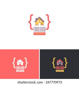 Freelance Programmer, Home Office Concept Vector Icons Design, Logos Shape, Sign, Symbol Template
