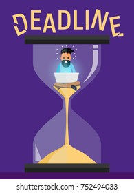 Freelance Programmer Struggling with the Deadline. Lack of Time. Outsource Employee Works on the Laptop. An Alarmed Worker inside Hourglass Rushes to Finish the Project. Vector Art Design Illustration