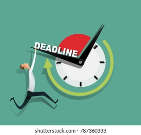 Freelance programmer struggling with the deadline. Outsource employee works on the laptop. Lack of time concept. Vector illustration
