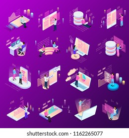 Freelance programming isometric icons set of isolated human characters and modern interfaces with infographic icons vector illustration