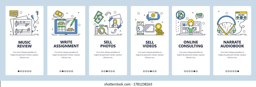 Freelance and remote online work from home office. Jobs for remote workers. Mobile app onboarding screens. Vector banner template for website and mobile development. Web site design illustration.