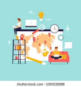 Freelance. Remote work. Team working. Home Office. Flat design vector illustration.
