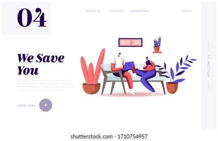Freelance Self-employed Occupation Landing Page Template. Characters in Masks Working Distant on Laptop from Home. at Covid19 Pandemic Quarantine Self Isolation. Cartoon People Vector Illustration