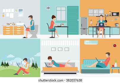 Freelance set with Various cartoon character design working at home, work from home, self employed, home office, work at home, freedom, in living room, bathroom toilet, conceptual vector illustration.