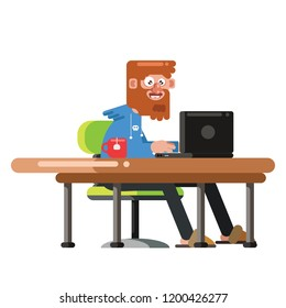 Freelance and tired designer, CG artist character in flat style, sitting and working in your homeoffice. Detailed workspace with notebook, red cap