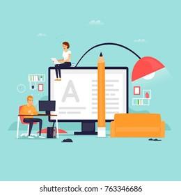 Freelance, work at home. Flat design vector illustration.