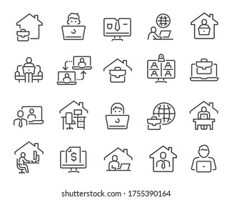 Freelance and Work at Home Icons Set. Collection of linear simple web icons such as Work from Home, Distant Work, Freelance, Online Video Conferencing, Work Online and more. Editable vector stroke.