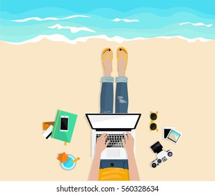 Freelance. Work outside. Stylish girl typing on laptop on the beach. Top view. Freelancer's desktop with notebook, credit cards,  camera, glasses. Work and rest. Hand drawn vector flat illustration