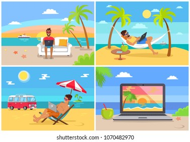 Freelance work and summer rest on sunny sea side vector illustration with working on beach freelancers and image of laptop with beautiful landscape