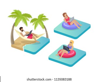 Freelance workers on beach working using laptops. Distant work by seaside. Man lying in hammock tied between palm trees and woman in lifebuoy vector