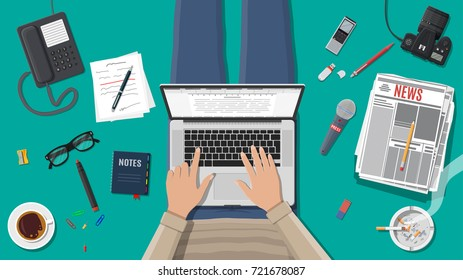 Freelance writer or journalist workplace. Laptop pc, newspaper. Paper sheets with text, pen. Ashtray, cigarette, coffee. Eyeglasses phone microphone, photo camera Vector illustration in flat style