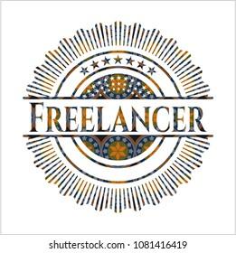 Freelancer arabic badge. Arabesque decoration.