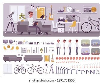 Intérieur de la salle de garçon, kit de création de bureau à domicile, ensemble d'espace de travail, meubles, construire sa propre conception avec différents éléments de construction de murs et de sols. Illustration infographique du dessin animé à plat