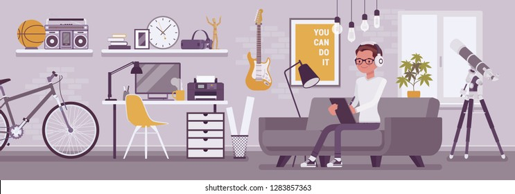 Freelancer boy room interior, modern home office design. Male freelance worker doing alone online job, young happy guy earning as independent self-employed person, cozy workspace. Vector illustration